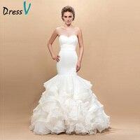 Dressv Sweetheart Wedding Dresses Long Trumpet Sleeveless Button Zipper Back Ruffles Organza Mermaid Wedding Dress 10899527