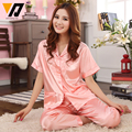 Moda de seda Mulheres Sleepwear Pijama Twinset Rendas Bordado Sólido Conjunto Roupa De Dormir de Cetim Mangas Curtas Loungewear