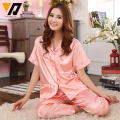 Silk Fashion Women Sleepwear Pajamas Twinset Lace Embroided Set Solid Satin Nightwear Short Sleeves Loungewear