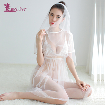 Lurehooker 2017 Sexy Erotic Underwear Cosplay White Bride Wedding Dress Uniform Perspective Lace Gauze Outfit Erotic Lingerie