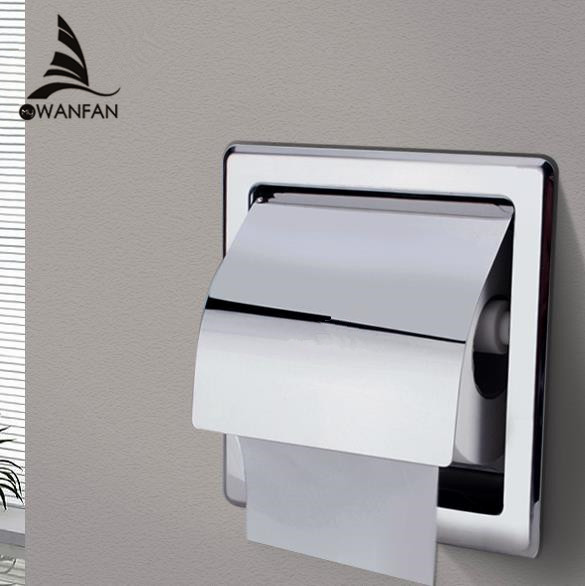 Paper Holders Modern Polished Chrome Stainless Steel Bathroom Toilet Paper Holder Wall Mount WC Roll Paper Tissue Box BK6806-13