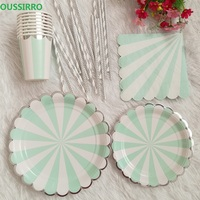 OUSSIRRO 69Pcs/Set Party Tableware Disposable Paper Plate Cups Straws Cutlery Set Wedding Decor Party Birthday Party
