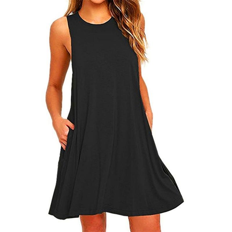 2018 Sexy Sleeveless Summer Dress Women Vestidos De Fiesta Solid Pocket Black Mini Boho Party Beach