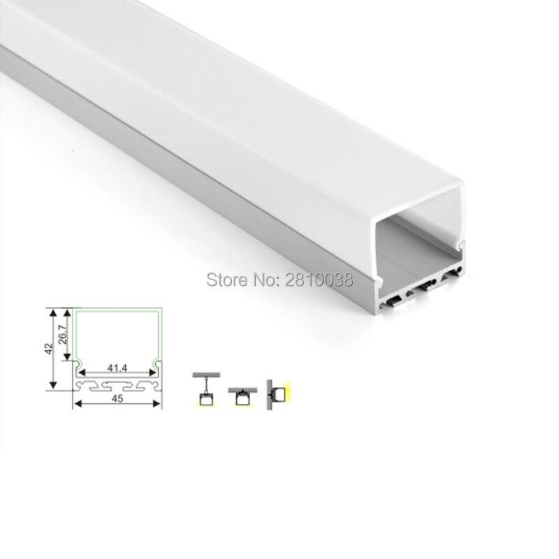 50X2 m Ensembles/Lot Linéaire lumière led profil logement 45mm Large carré type canaux en aluminium pour mur encastré lampes