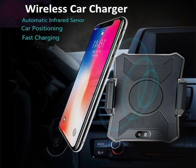 10 w Automatique Induction Sans Fil Chargeur De Voiture Infrarouge Senor Air Vent Mount Téléphone Titulaire pour iPhone 8 Plus X Samsung s8 S9 S7