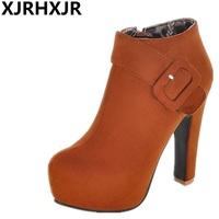 XJRHXJR Sexy Ankle Boots Women High Heels Shoes Fashion Buckle Side Zipper Nude Boots Ladies Suede Leather Thick Platform Boots