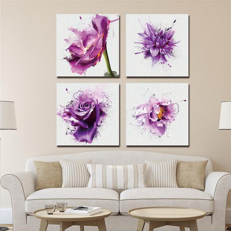 Festmény Kép Cuadros Decoracion vászon Art fal 3 Panel Új Modern lila virág dekoráció nappali Nincs keret