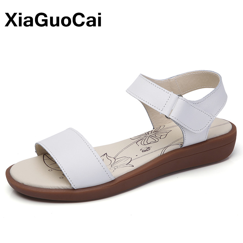 XiaGuoCai New Women's Sandals High Quality Leather Women Flats Fashion Summer Female Beach Shoes For Sweet Girl new 2017 spring summer women shoes pointed toe high quality brand fashion womens flats ladies plus size 41 sweet flock t179