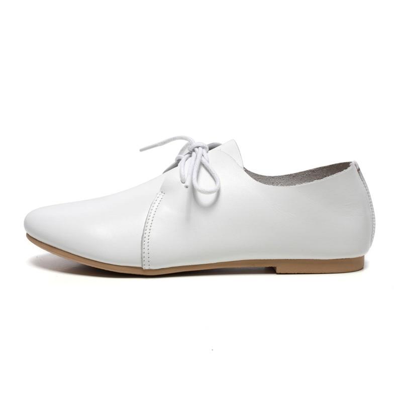 Véritable Dentelle Design Beyarne Blanc Chaussures En 2018 Femmes Bout Automne Rond Cuir Nouvelles De up Style Patchwork f7X7qwv
