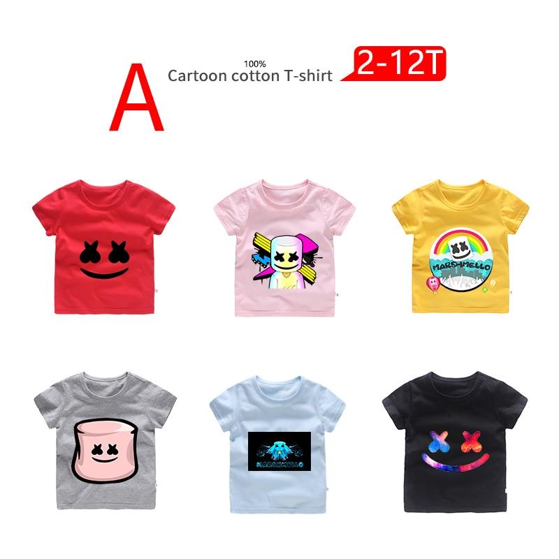 Marshmello DJ Boys Girls Kids Casual Short Sleeve T-Shirt Tee Summer Clothing