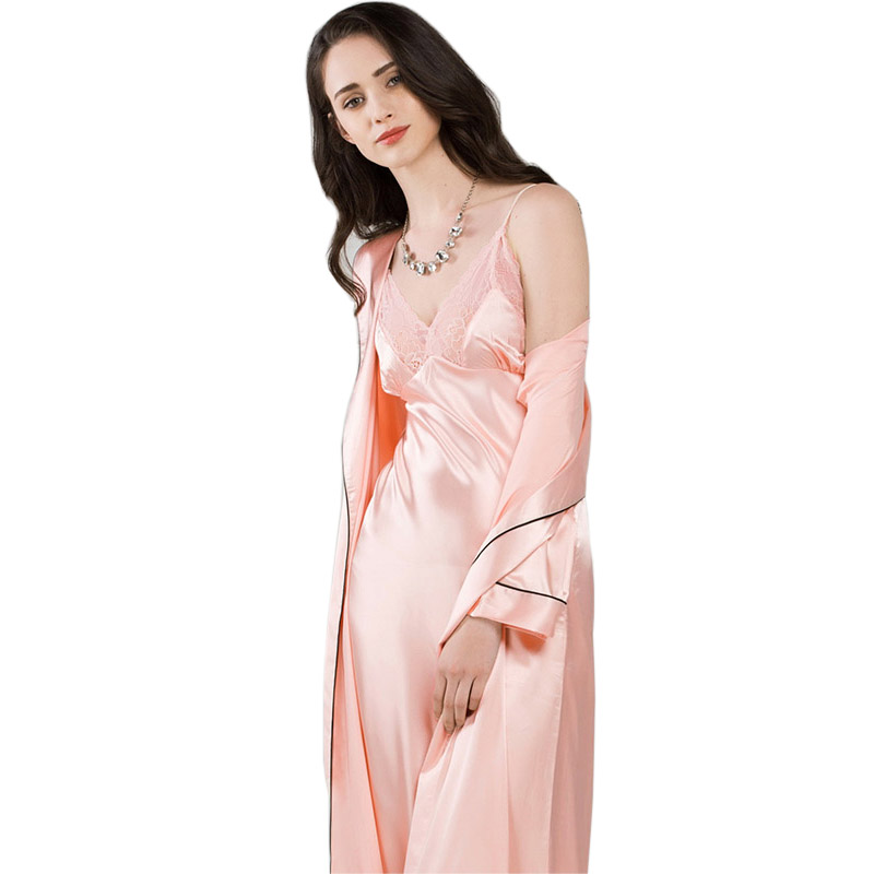 73ad6ef5f8 Women Nightgowns Summer Silk Sling Dress Long Sleeve Sleeping Robes Two  Piece Nightdress Bathrobe Sets Sexy Lace Sleepwear T0009-in Robe   Gown Sets  from ...