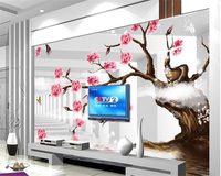 Beibehang Hanging On The Wall Fashionable Senior 3d Wallpaper Simple Rose Tree Bedroom Background Wall Papel