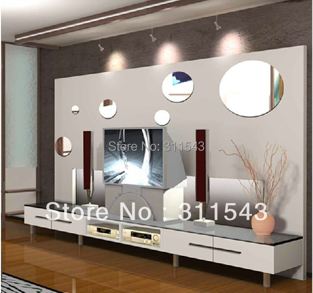 8pcs large round mirror wall stickers for living room wall decor crystal mirrored home decoration