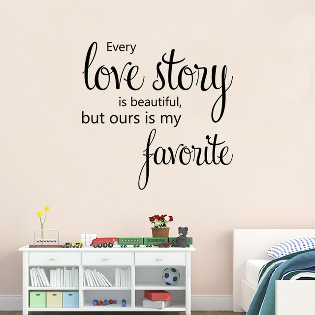 US $3.93 18% OFF|Family Love story Vinyl Quotes Wall Sticker Poster Living  Room Bedroom Wall Stickers Home Decoration Wall Decals Quotes Sayings-in ...