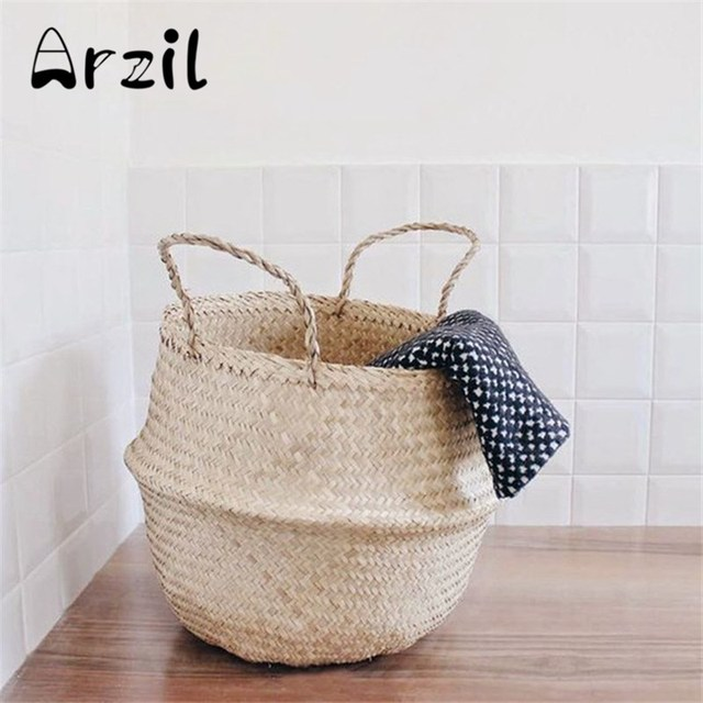 Cestas de almacenamiento ropa maceta cesta de paja plegable del ...