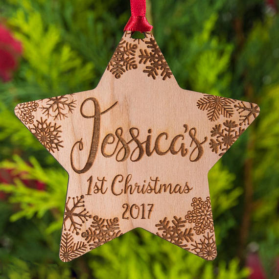 Baby S First Christmas Personalised Wooden Bauble Star Shape