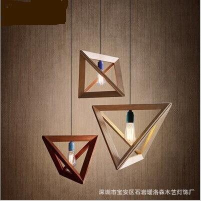 Moderno design minimalista originale triangolo di legno for Lampadario legno moderno