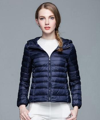 Складываемая женская зимняя куртка с длинным рукавом, однотонное женское теплое пуховое пальто, Новое Женское зимнее пальто с капюшоном Casaco Feminino - Цвет: Dark blue