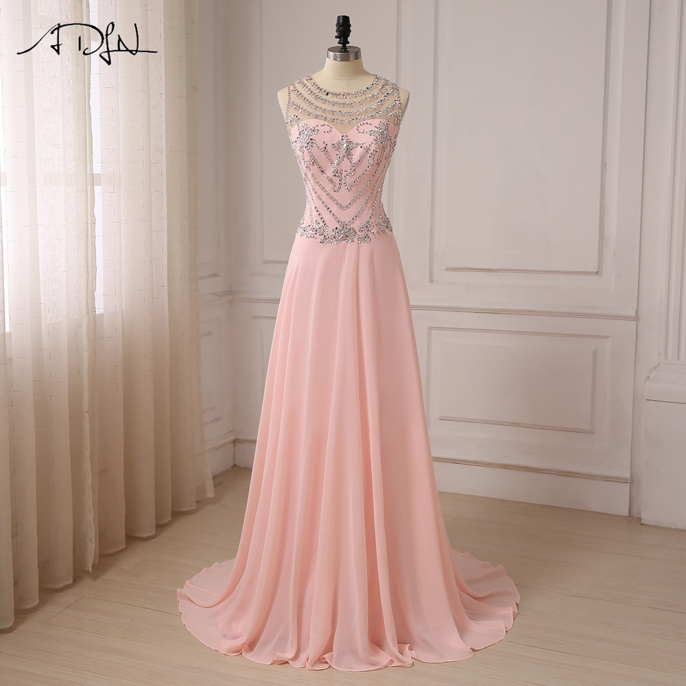 ADLN Luxury Stones Crystals Prom Dresses See-through Back Cap Sleeve Sexy Party Evening Gowns