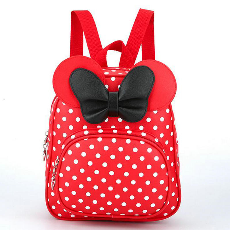 New Fashion PU Baby Girls Kids Backpack Cartoon Cute Butterfly Knot Minnie Backpack Princess Mini Bag Bow Mouse Ears of 4 colors 2017 new fashionable cute soft black grey pink beige solid color rabbit ears bow knot turban hat hijab caps women gifts