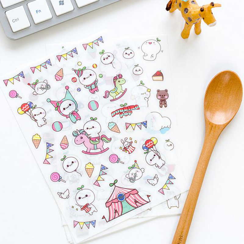 6 Sheets Kawaii Cute Cartoon Character Series Decor Stickers Album Notebook Cup DIY Adhesive Stickers Student Stationery