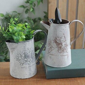 Flores cubo barril de Metal jarrones Estilo Vintage adornos de jardinería para el hogar Retro Metal artesanía arreglo de flores