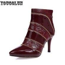YOUGOLUNฤดูใบไม้ร่วงผู้หญิงหนังแท้รองเท้าข้อเท้าโซ่ส้นสูงบาง(8.5เซนติเมตร)บู๊ทส์เซ็กซี่ผู้หญิงเซ็กซี่แหลมนิ้วเท้าไวน์แดงรองเท้า