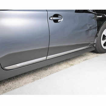 цена на JY 4PCS SUS304 Stainless Steel Door Side Body Molding Trim Car Styling Cover Accessories For Toyota Prius ZVW30