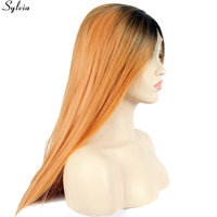 Sylvia Natural Long Silky Straight Ombre Orange Peach Black Roots Synthetic Lace Front Wig Gueless Heat Resistant Soft Hair Wigs