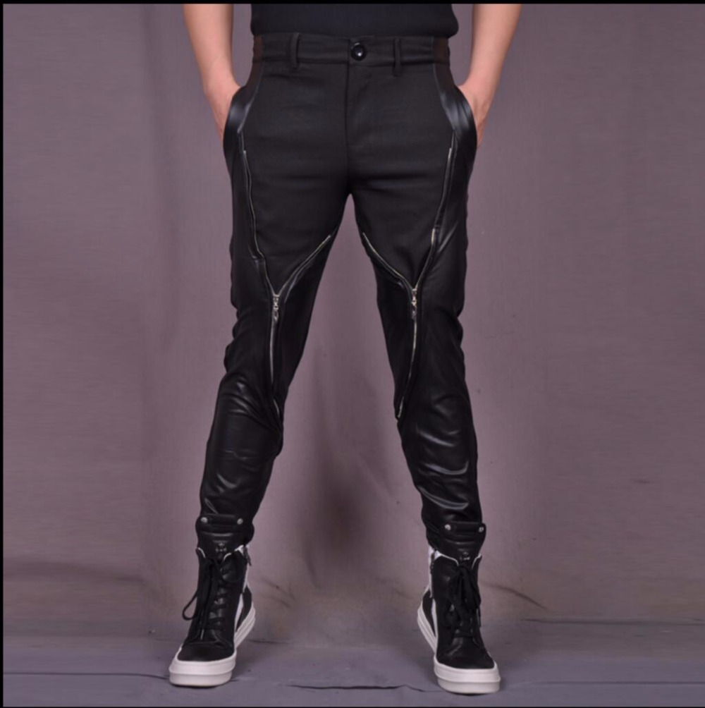 Stretch Pants Trousers Zipper Black Hairstylist Casual Costumes Splicing Singer Nightclubs-Punk-Rock