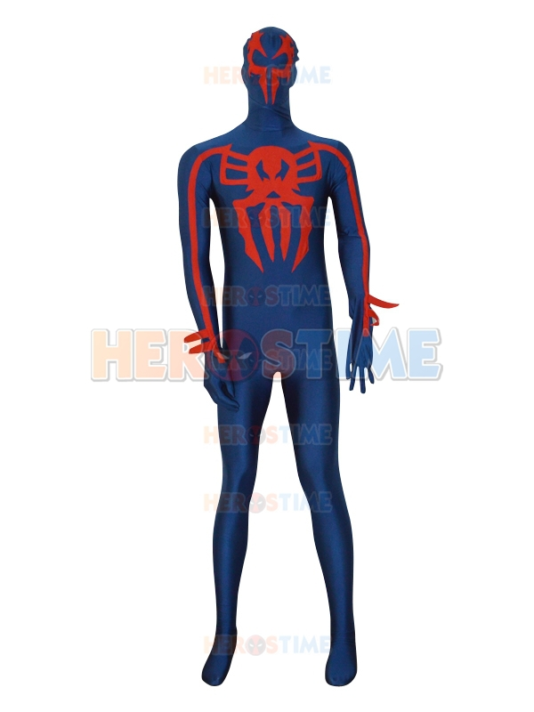 Free Shipping Spider-man 2099 Navy Blue Spandex Custom Superhero Costume  Fullbody Zentai Suit Halloween Costume Free Shipping