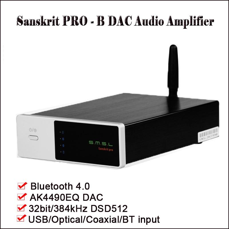 SMSL Sanskrit Pro-B Bluetooth DAC Audio Amplificateur Décodeur AK4490EQ DSD DAC Amp Hifi Amplificateur Bluetooth DAC USB Optique entrée