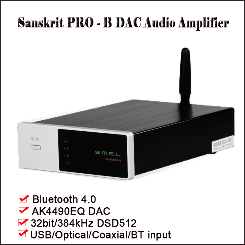 SMSL Sanscrito Pro-B Bluetooth DAC Amplificatore Audio Decoder AK4490EQ DSD DAC Amp Hifi Bluetooth Amplificatore DAC USB Ottico ingresso