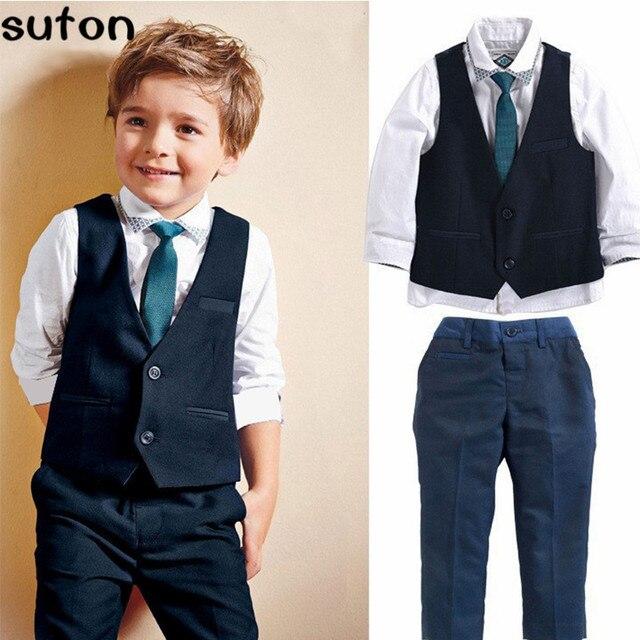 Новая коллекция весна и осень мода мальчики одежда костюм джентльмен красивый жилет + белый shiirt + формальные брюки детская одежда детей