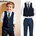 Nueva moda de primavera y otoño niños bebés ropa traje shiirt caballero guapo chaleco + camiseta blanca + pantalones formales ropa de los cabritos de los niños