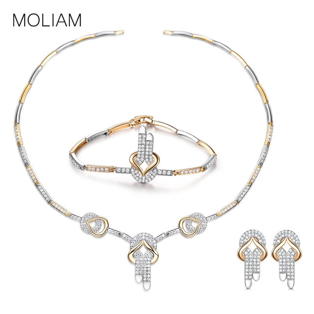 MOLIAM 2018 Fashion CZ Wedding Jewelry Sets For Bride Party Costume