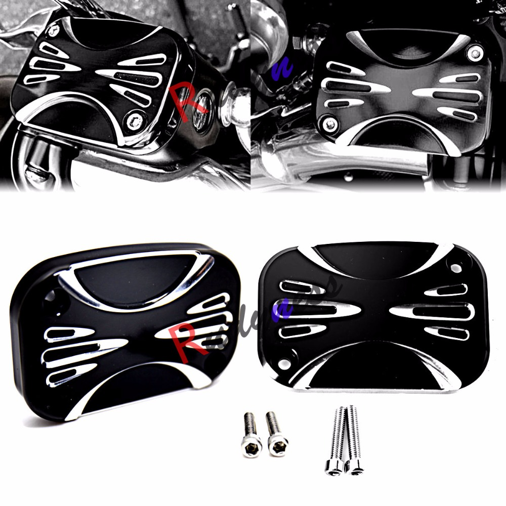 L&R Deep Cut Black Brake Master Cylinder Cover For Harley Touring Electra Street Glide FLH/T FLHX 2008-2016 motorcycle front brake master cylinder cover for harley davidson touring 1996 2007 chrome black