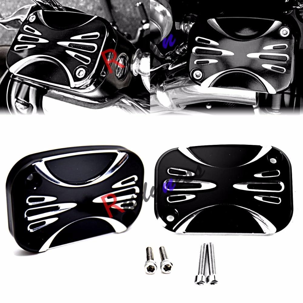 L и R глубоким вырезом черный главный тормозной цилиндр Крышка для Harley гастроли улица скользить СТД/Т FLHX 2008-2016