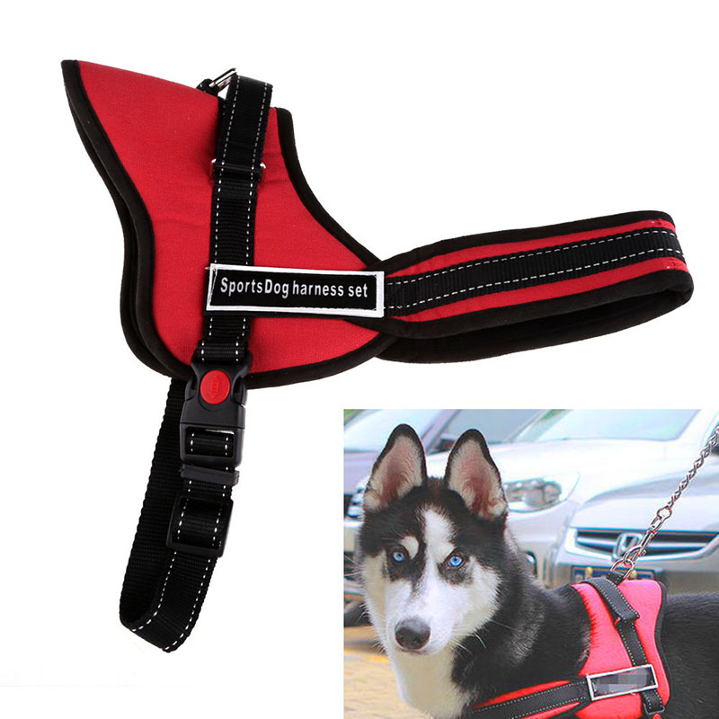 Hot Sale Pet Dog Outdoor Walking Leash Comfortable Medium Large Size Dog Pet Adjustable Soft Chest Harness Red BS