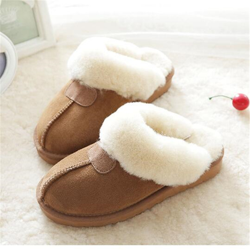 CUWHF 2018 New Natural Sheepskin Fur Slippers Female Winter Slippers Women Warm Indoor Slippers Soft Wool Lady Home Slippers big size44 warm home slippers women bedroom winter slippers cartoon slippers fur slides autumn lovers female indoor soft bottom