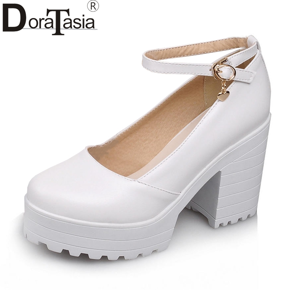 DORATASIA Solid White Sweet Shallow Platform Sandals Women Autumn 2018 New Arrival High Heels Shoes Woman Large Size 34-43 doratasia new hot sale large size 34 43 brand shoes woman fashion platform high heels casual sandals woman shoes girls footwear