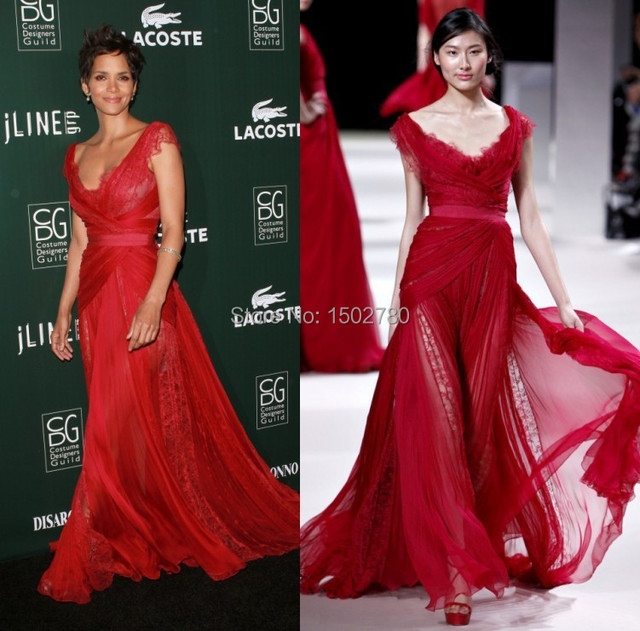 d248a60aa99 13th Annual Costume Designers Guild Awards Halle Berry Dress Red Lace  Transparent Skirt Chiffon Evening Celebrities Dresses