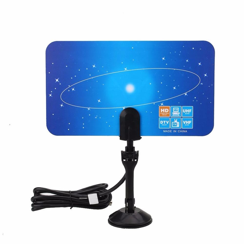 Cewaal Numérique Intérieure Antenne TV HDTV DTV HD VHF UHF Ultra mince Plat Design High Gain Antenne TV Récepteur L'UE Plug