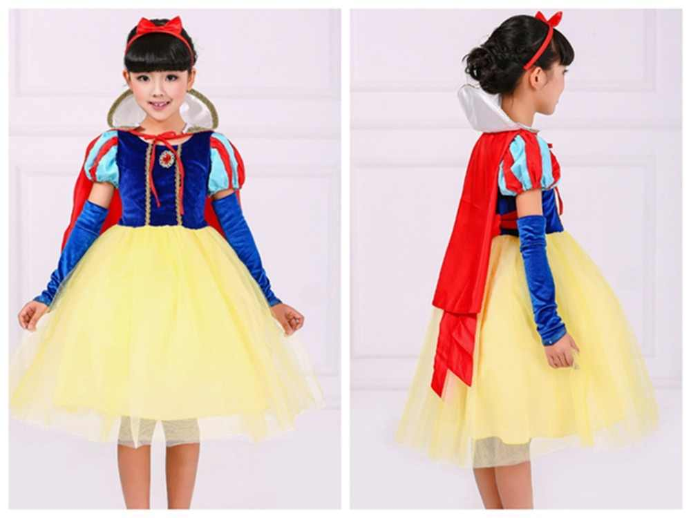 Halloween Natal cosplay traje vestido de princesa saia vestido meninas personagem de conto de fadas branca de neve roupas agindo
