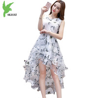 Organza dress Summer Women printing dress fashion irregular Large swing dress temperament sleeveless Slim Vest dress OKXGNZ 1698