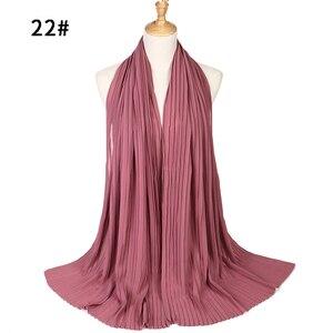 Image 4 - 1 pc plain pleat bubble chiffon wrinkle scarf long stripe shawls hijab crumple pashmian muslim scarves/scarf