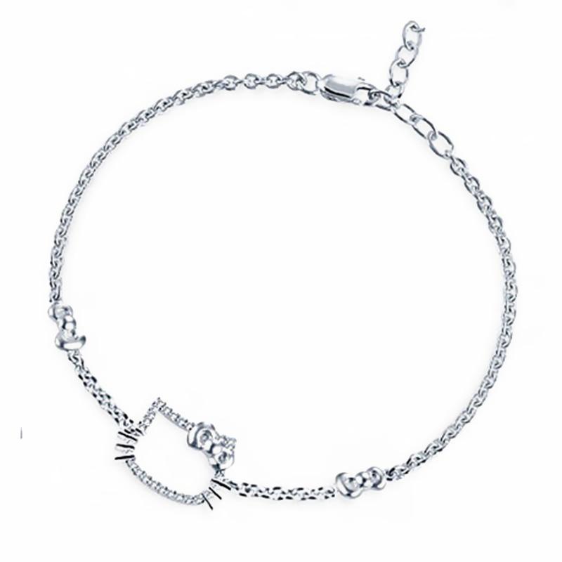 925 sterling silver jewelry hello kitty bracelet for girls cute Hello Kitty Trouble 925 sterling silver jewelry hello kitty bracelet for girls cute design fine jewelry women s fashion accessories in strand bracelets from jewelry