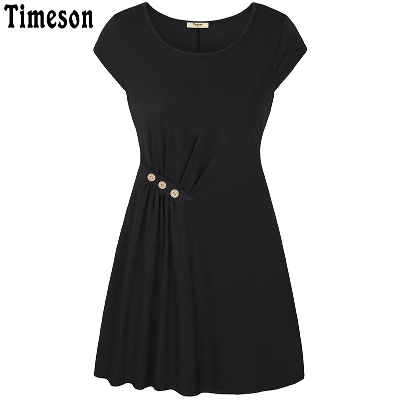 Timseon Short Sleeve Knitted Mini Dress Women 2018 Summer Casual Loose O Neck Robe Femme Buttons Ruched A Line Ladies Dresses embroidered casual loose knitted dress flower long sleeved dress o neck line plain dresses fall casual dresses