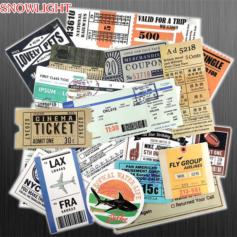 25 Pcs Air Tickets Train Tickets Invoice Vintage Sticker For Laptop Luggage Skateboard Phone Motorcycle Refrigerator Stickers