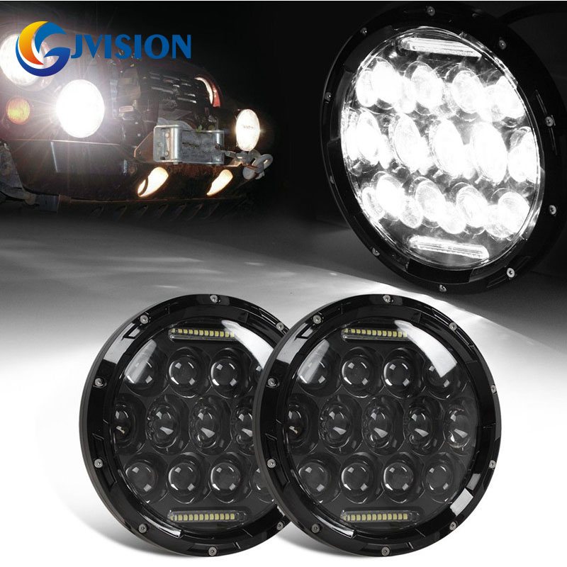 75W 7 INCH Round led headlight with DRL High/Low Beam for Jeep Wrangler JK TJ Harley Davidson Motorcycle FJ Driving Headlamp 7inch round black left hand led headlight hi low beam 80w high bright driving lamp for jeep harley